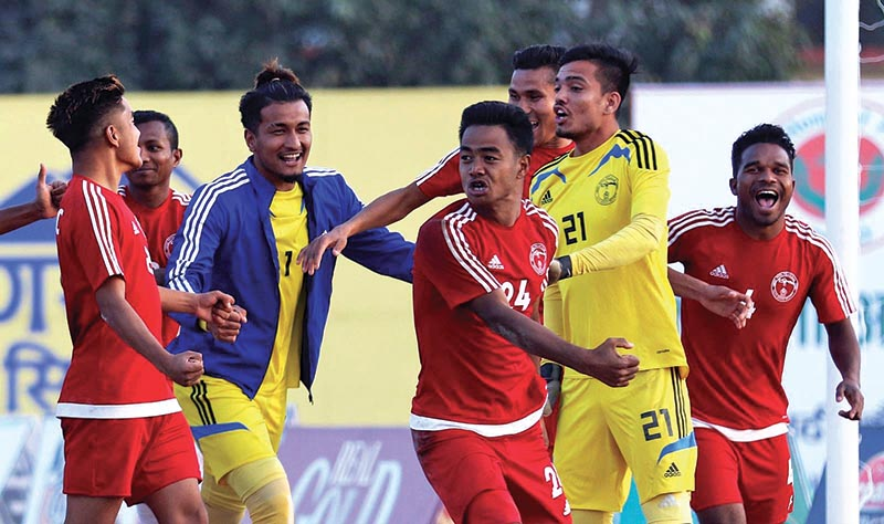 Nepal Police Club players celebrate their victory over CMG Club Sankata in the third Nepal Ice International Farwest Khaptad Gold Cup in Dhangadhi on Thursday. Photo: THT