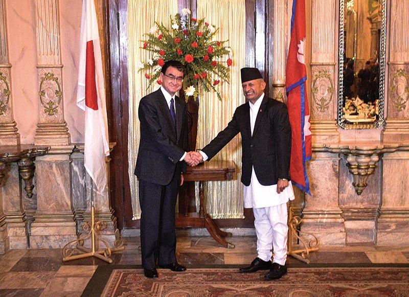 Foreign Affairs Minister Pradeep Gyawali (right) and Japanese Foreign Affairs Minister Taro Kono (left), in Kathmandu, on Wednesday. Photo: THT