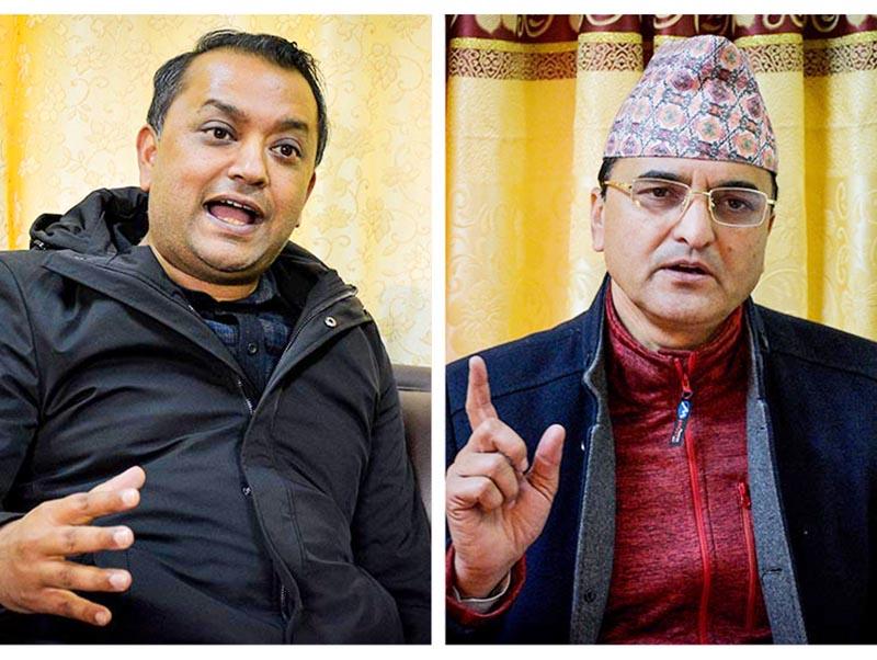 Interview with Nepali Congress lawmaker Gagan Kumar Thapa and Nepal Communist Party (NCP) lawmaker Yogesh Bhattarai (right), in Kathmandu, on Thursday, January 10, 2019. Photo: Naresh Krishna Shrestha/THT