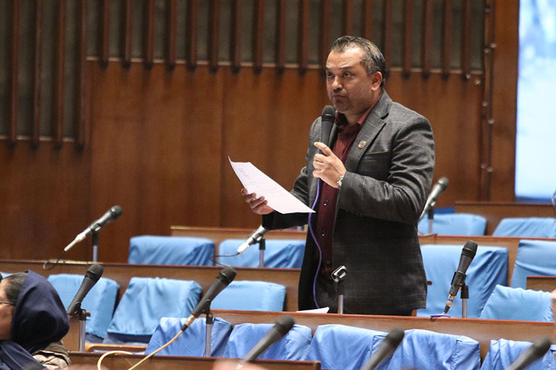 Nepali Congress lawmaker Gagan Kumar Thapa questions Prime Minister KP Sharma Oli during question-answer session in the Parliament, in New Baneshwor, on Friday, January 18, 219. Photo: RSS