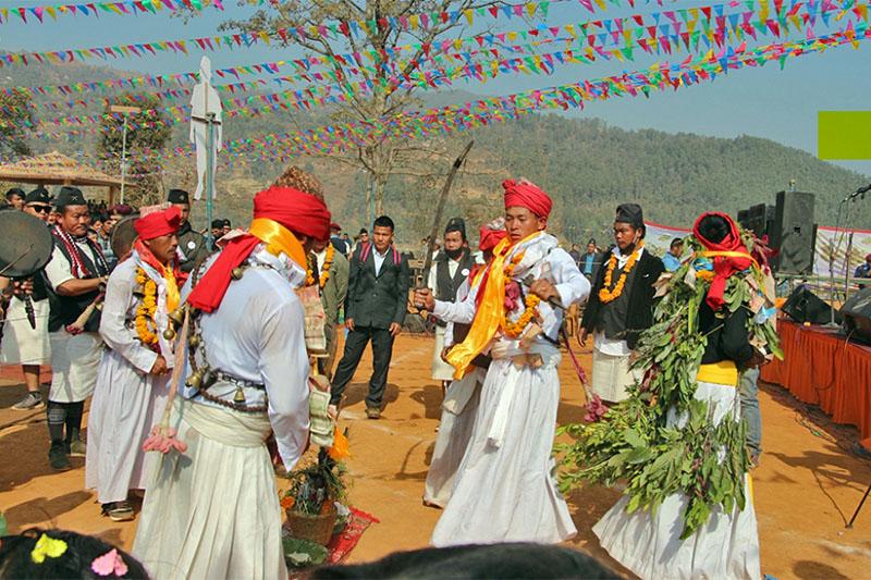 Members of Ghale community celebrating 'Ghale Lohasar' in Besishahar of Dhading district, on Tuesday, January 15, 2019. Photo: Keshav Adhikari