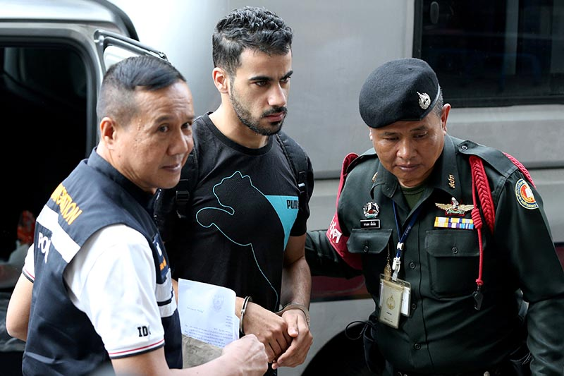 Hakeem Al Araibi, a former member of Bahrain's national soccer team who holds a refugee status in Australia arrives at court after he was arrested last month on arrival at a Bangkok airport based on an Interpol notice issued at Bahrain's request, in Bangkok, Thailand December 11, 2018. Photo: Reuters