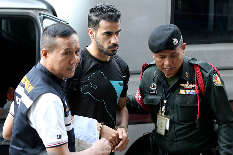 FILE PHOTO: Hakeem Al Araibi, a former member of Bahrain's national soccer team who holds a refugee status in Australia arrives at court after he was arrested last month on arrival at a Bangkok airport based on an Interpol notice issued at Bahrain's request, in Bangkok, Thailand December 11, 2018. Photo: Reuters