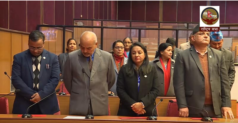 Nepali Congress lawmakers obstruct the National Assembly meeting in New Baneshwor, Kathmandu on Monday, January 21, 2019. Photo: Youtube screenshhot