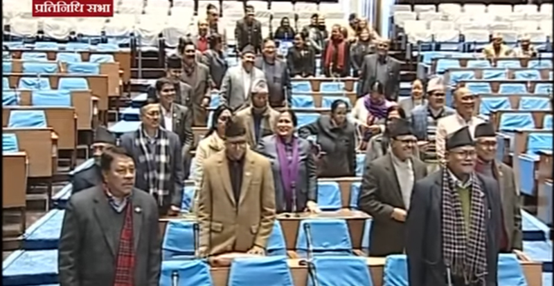 Nepali Congress lawmakers obstruct the meeting of the House of Representatives in New Baneshwor, Kathmandu on Monday, January 21, 2019. Photo: Youtube screenshot