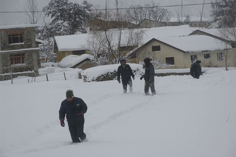 People wade through snow in Simkot district headquarters of Jumla, on Tuesday, January 22, 2019. Photo: RSS