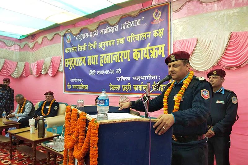 Inspector General of Nepal Police Sarbendra Khanal addresses an inaugural session of CCTV cameras installed for the surveillance at District Police Office in Gaur Municipality, Rautahat district, on Friday, January 4, 2019. Photo: Prabhat Kumar Jha/THT