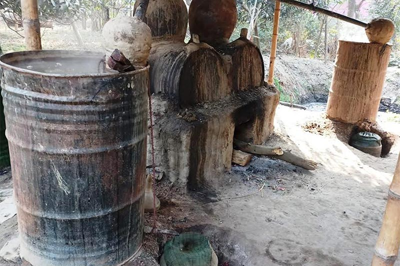 File - A makeshift contraption for producing illicit alcohol in Pachharauta Municipality, Rautahat, on Wednesday, January 30, 2019. Photo: THT