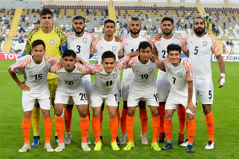 India players pose for a portrait prior to their game against Thailand during Asian Cup. Courtesy: AIFF media