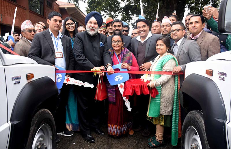 Indian Amabassador Manjeev Singh Puri handing over vehicles gifted to Nepal, on Saturday, January 26, 2019. Photo: THT