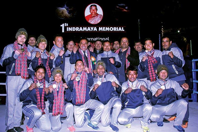 Winners of the first Indramaya Memorial International Boxing Championship in Boshigaun, Chandragiri on Thursday. Photo: THT
