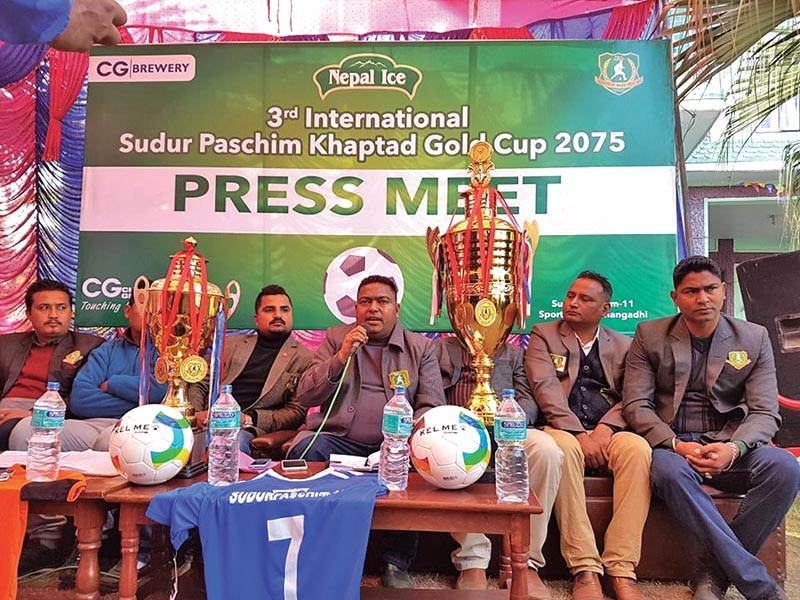 Farwest Sporting Club president Suresh Hamal speaks during a press meet in Dhangadhi on Thursday. Photo: THT