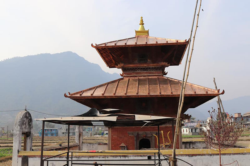 A view of restored Ishaneshwar Mahadev Temple in Karaputar of MadyaNepal Municipality-7 in Lamjung district, on Monday, January 21, 2019. Photo: Ramji Rana/THT