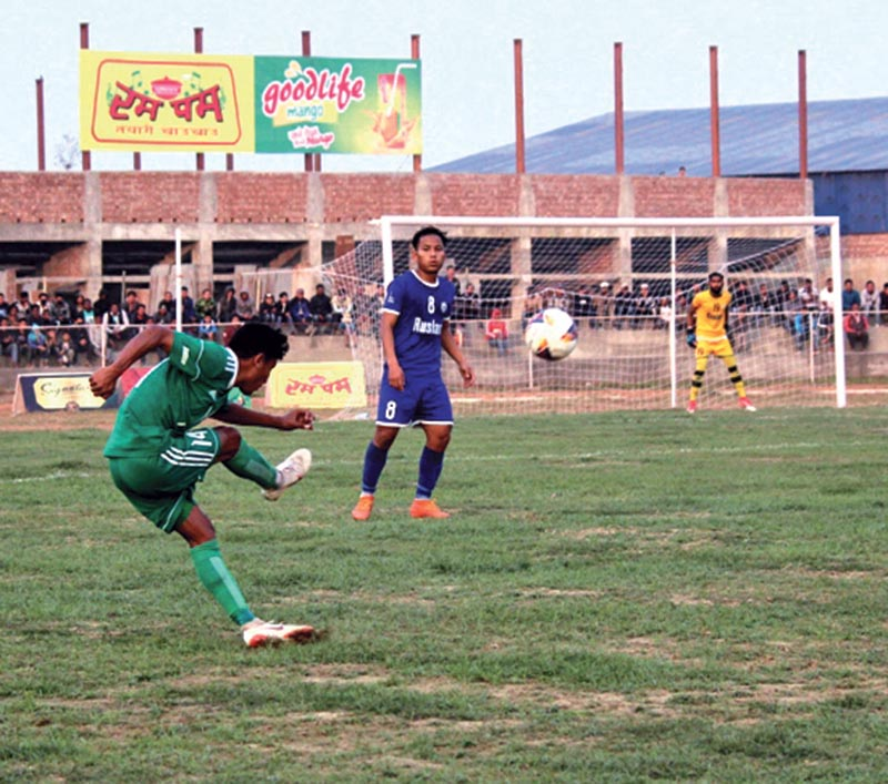 Action in the match between TAC (left) and Ruslan Three Star Club during the Itahari Gold Cup in Sunsari on Monday. Photo: THT
