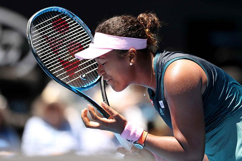 Japan's Naomi Osaka reacts during her Australian Open Fourth Round match against Latvia's Anastasija Sevastova, at Melbourne Park, in Melbourne, Australia, on January 21, 2019. Photo: Reuters
