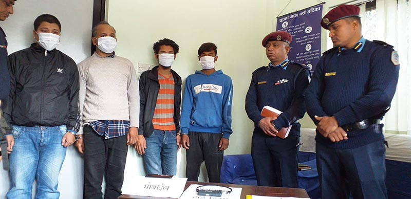 Police making public four persons arrested in connection with murder of journalist and lecturer Manohar Dhakal, at Makawanpur District Police Office, Hetauda, on Saturday, January 19, 2019. Photo: Prakash Dahal/THT