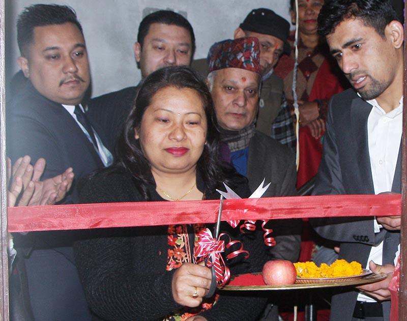 Board member of Jyoti Life Insurance Company Limited, Sharmila Shrestha Maharjan inaugurates the opening ceremony of the branch office, in Sorhakhutte, Kathmandu, on Monday, January 28, 2019. Photo: THT
