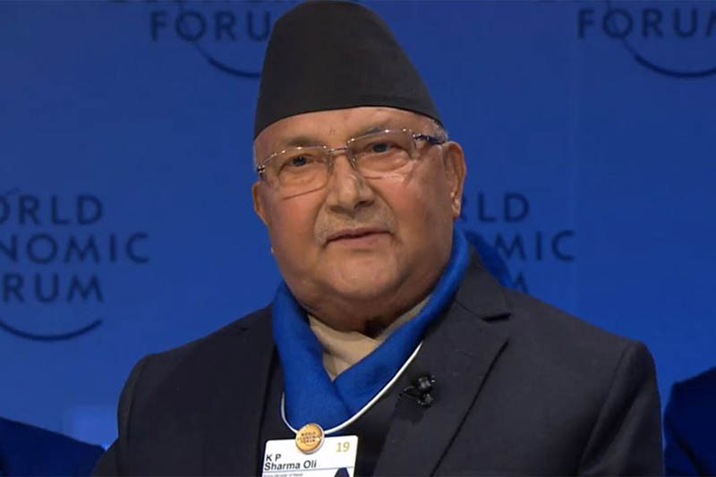 Prime Minister KP Sharma Oli speaks at a World Economic Forum's session 'Strategic Outlook on South Asia, in Switzerland, on Tuesday, January 22, 2018. Photo: RSS