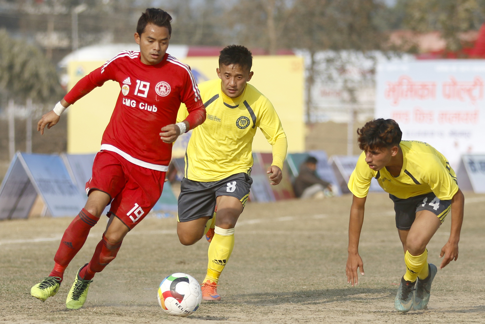 Laxman Ruchal (left) of CMG Club Sankata vies for the ball with Uttam Gurung of Gorkha Boys during their Nepal Ice Farwest Khaptad Gold Cup match in Dhangadhi on Friday, January 11, 2019. Photo: THT