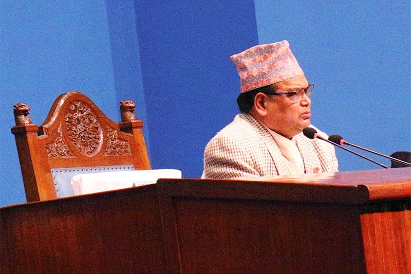 Speaker Krishna Bahadur Mahara announcing the endorsement of National Medical Education Bill in the well of the House of Representatives, in Kathmandu, on Friday, January 25, 2019. Photo: RSS