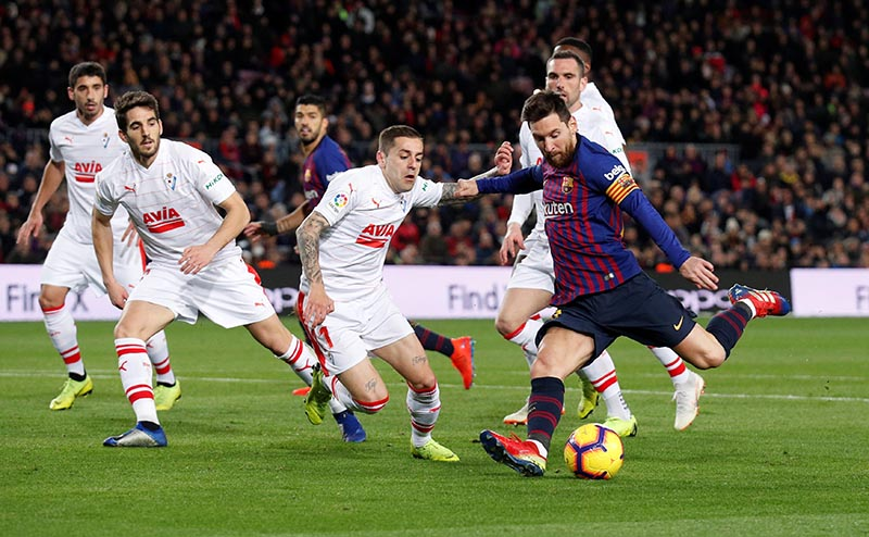 Barcelona's Lionel Messi scores their second goal during the La Liga Santander match between FC Barcelona and Eibar, at Camp Nou, in Barcelona, Spain, on January 13, 2019. Photo: Reuters