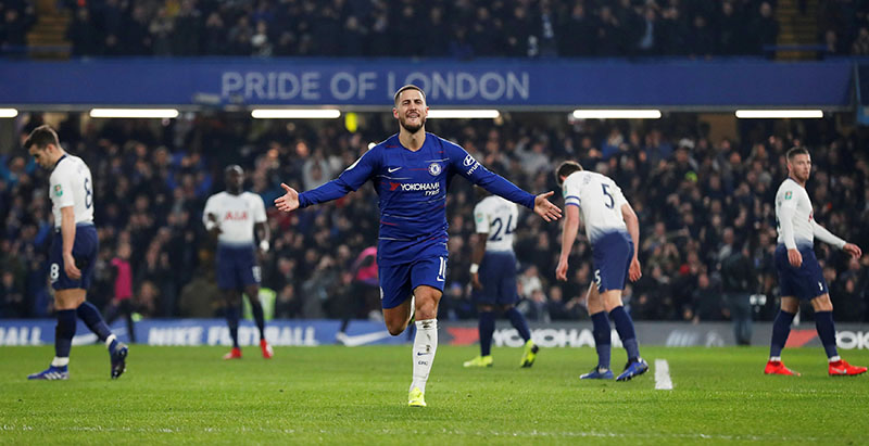 Chelsea's Eden Hazard celebrates scoring their second goal during the Carabao Cup Semi-Final Second Leg match between Chelsea and Tottenham Hotspur, at Stamford Bridge, in London, Britain, on January 24, 2019. Photo: Action Images via Reuters