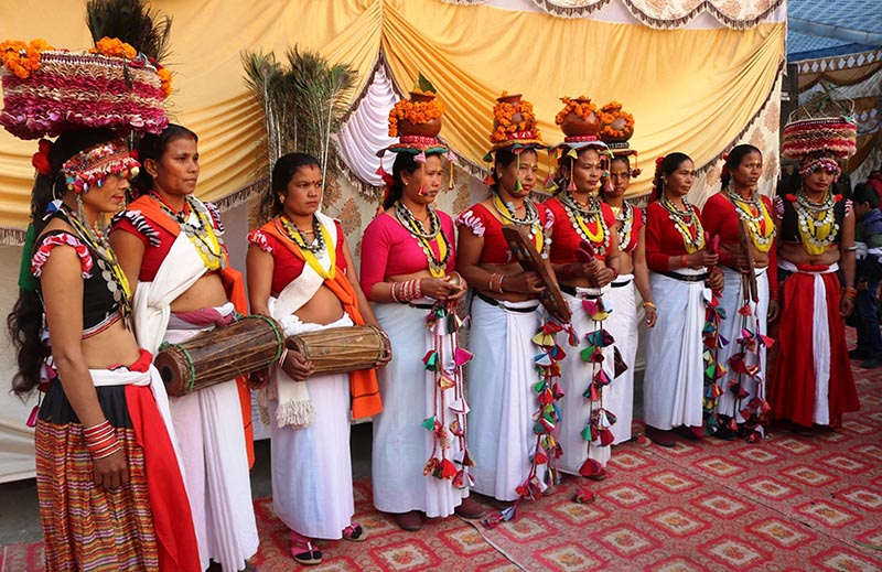 Women from Tharu community, in traditional attire participate in a greeting exchange programme organised by Province 5 government in Butwal, on Monday, January 14, 2019. Photo: RSS