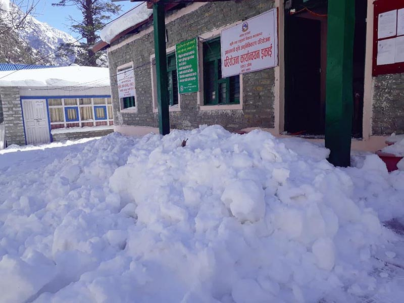 Snow piled up in front of  Project Implementation Unit Office in Chame, Manang, on Wednesday, January 30, 2019. Photo: THT