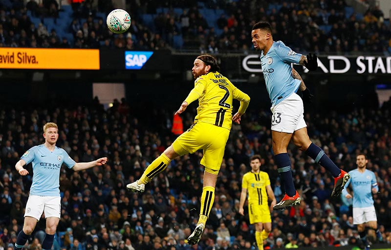 Manchester City's Gabriel Jesus scores their fifth goal to complete his hat-trick during the  Carabao Cup Semi Final First Leg match between Manchester City and Burton Albion, at Etihad Stadium, in  Manchester, Britain, on January 9, 2019. Photo: Action Images via Reuters