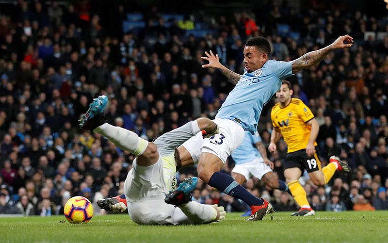 Manchester City's Gabriel Jesus scores their first goal during the Premier League match between Manchester City and Wolverhampton Wanderers, at Etihad Stadium, in Manchester, Britain, at January 14, 2019. Photo: Action Images via Reuters