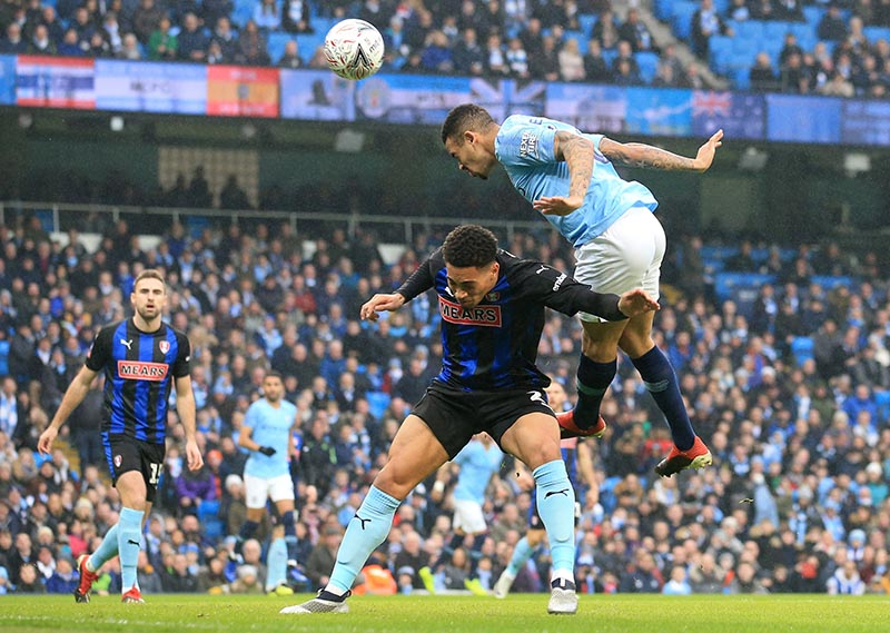 Manchester City's Gabriel Jesus misses a chance to score during the FA Cup Third Round match between Manchester City and Rotherham United, at Etihad Stadium,in  Manchester, Britain, on January 6, 2019. Photo: Reuter