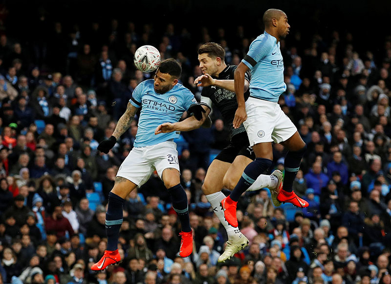 Manchester City's Nicolas Otamendi in action during the FA Cup Fourth Round match between Manchester City and Burnley, at Etihad Stadium, in Manchester, Britain, on January 26, 2019. Photo: Reuters