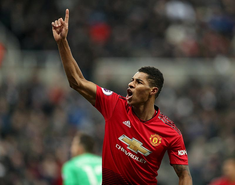 Manchester United's Marcus Rashford celebrates scoring their second goal during the Premier League match between Newcastle United amd Manchester United, at St James' Park, in Newcastle, Britain, on January 2, 2019. Photo: Reuters