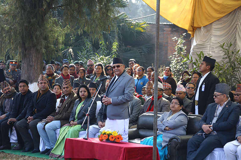 Prime Minister KP Sharma Oli addresses a programme organised to mark Martyr's Day, at the Martyrs Memorial Park in Lainchaur, on Wednesday, January 30, 2019. Photo: RSS