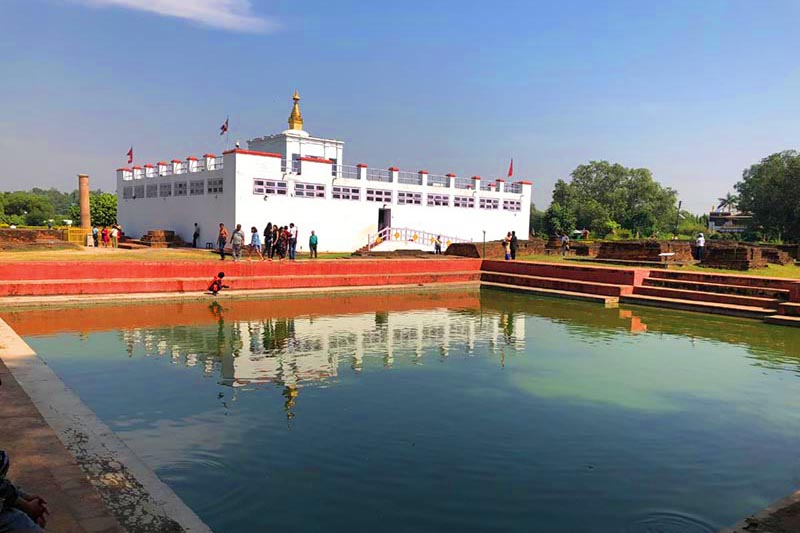 Maya Devi Temple and Pond as pictured in Lumbini on Tuesday, October 23, 2018. Photo: Sandeep Sen