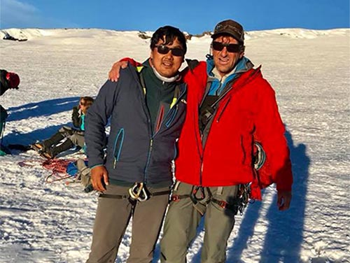 This undated image shows Mingma Tenjing Sherpa with renowned climber Dave Hahn on Mt Rainier summit . THT