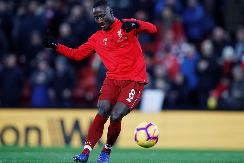 Liverpool's Naby Keita during the warm up. Photo: Reuters