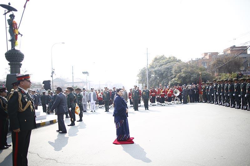 President Bidya Devi Bhandari attending a ceremony held to mark the 297th birth anniversary of King Prithvi Narayan Shah, in Kathmandu, on Friday, January 11, 2019. Photo: Skanda Gautam/THT