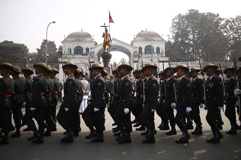 Nepali Army soldiers performing march past in a ceremony held to mark the 297th birth anniversary of King Prithvi Narayan Shah, in Kathmandu, on Friday, January 11, 2019. Photo: Skanda Gautam/THT