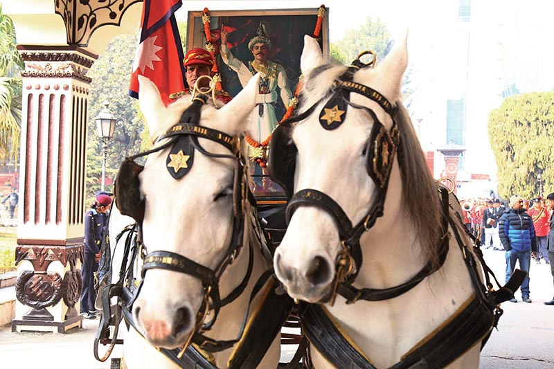 A carriage carrying a portrait of late king Prithvi Narayan Shah during National Unity Day celebrations in Kathmandu, on Friday, January 11, 2019. Photo: RSS