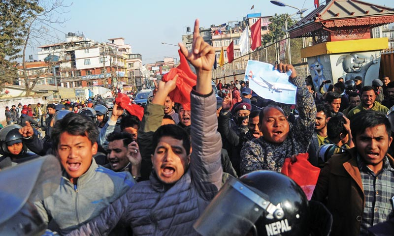 Students staging protest against Nepal Airlines Corporation's aircraft procurement deal, in Kathmandu, on Saturday, January 5, 2019. Photo: THT