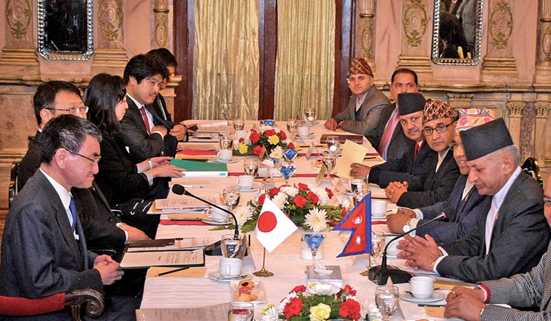 A Nepali delegation led by Foreign Affairs Minister Pradeep Gyawali (right) meeting a team headed by Japanese Foreign Affairs Minister Taro Kono (left), in Kathmandu, on Wednesday. The meeting discussed Japan's Plan to recruit Nepali workers, implementation of Nepal-Japan air service agreement and other bilateral issues. Photo: THT