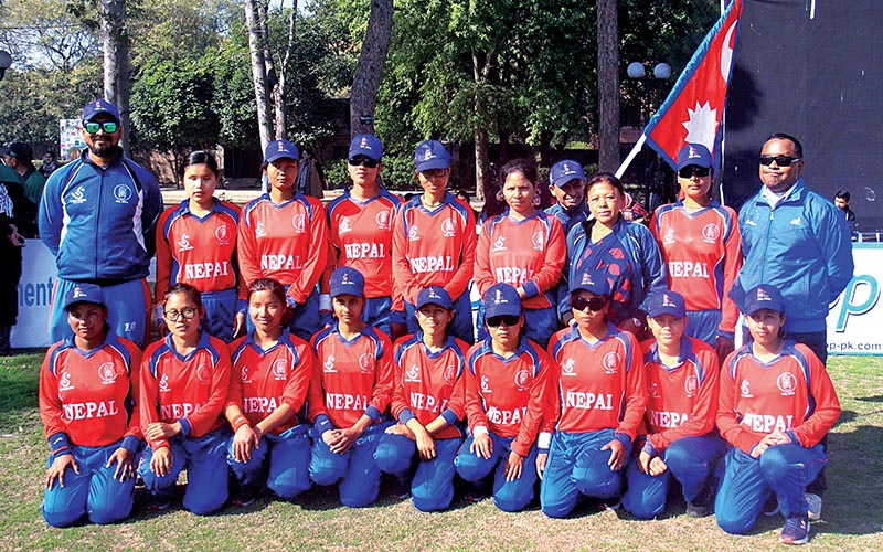 Nepal national women's blind team members and officials pose for a group photo before the International Women's Blind Cricket Series match against Pakistan in Lahore on Tuesday.Photo Courtesy: NSJF