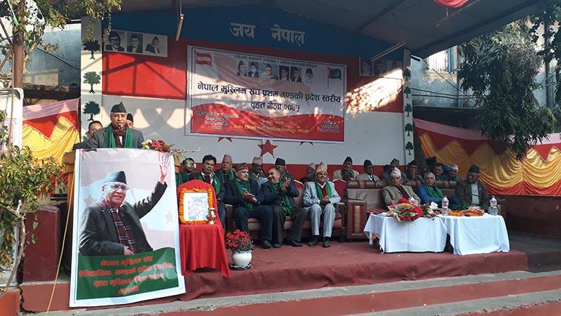 Nepali Congress President Sher Bahadur Deuba speaking at a programme in Pokhara, on Saturday. Photo: THT