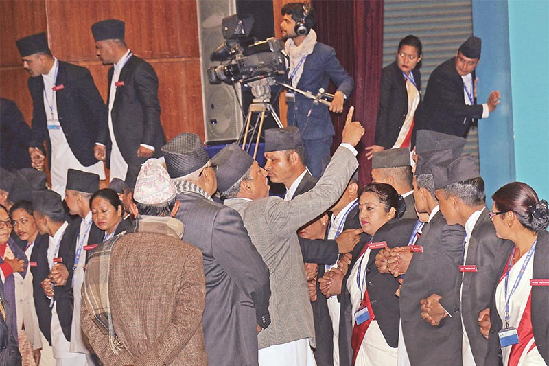 Nepali Congress lawmakers shouting slogans in the well of the House of Representatives, in Kathmandu, on Tuesday, January 22, 2019. Photo: RSS