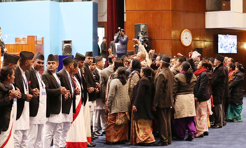 Lawmakers of the Nepali Congress obstructing the proceedings after Speaker Krishna Bahadur Mahara refused to let them pose questions to Prime Minister KP Sharma during a Parliament session, in Kathmandu, on Sunday, January 6, 2019. Photo: THT