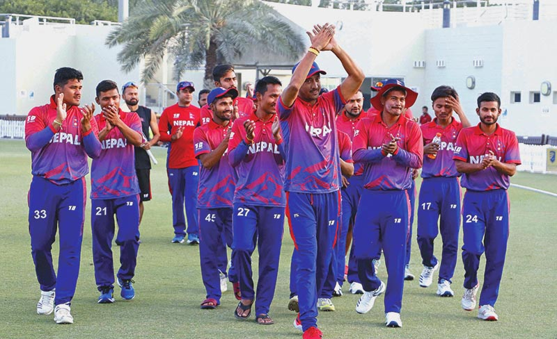 FILE: Nepal skipper Paras Khadka and team members acknowledging fans after beating the UAE in the third One Day International match at the ICC Academy grounds, in Dubai, on Monday, January 28, 2019. Photo courtesy: CricketingNepal