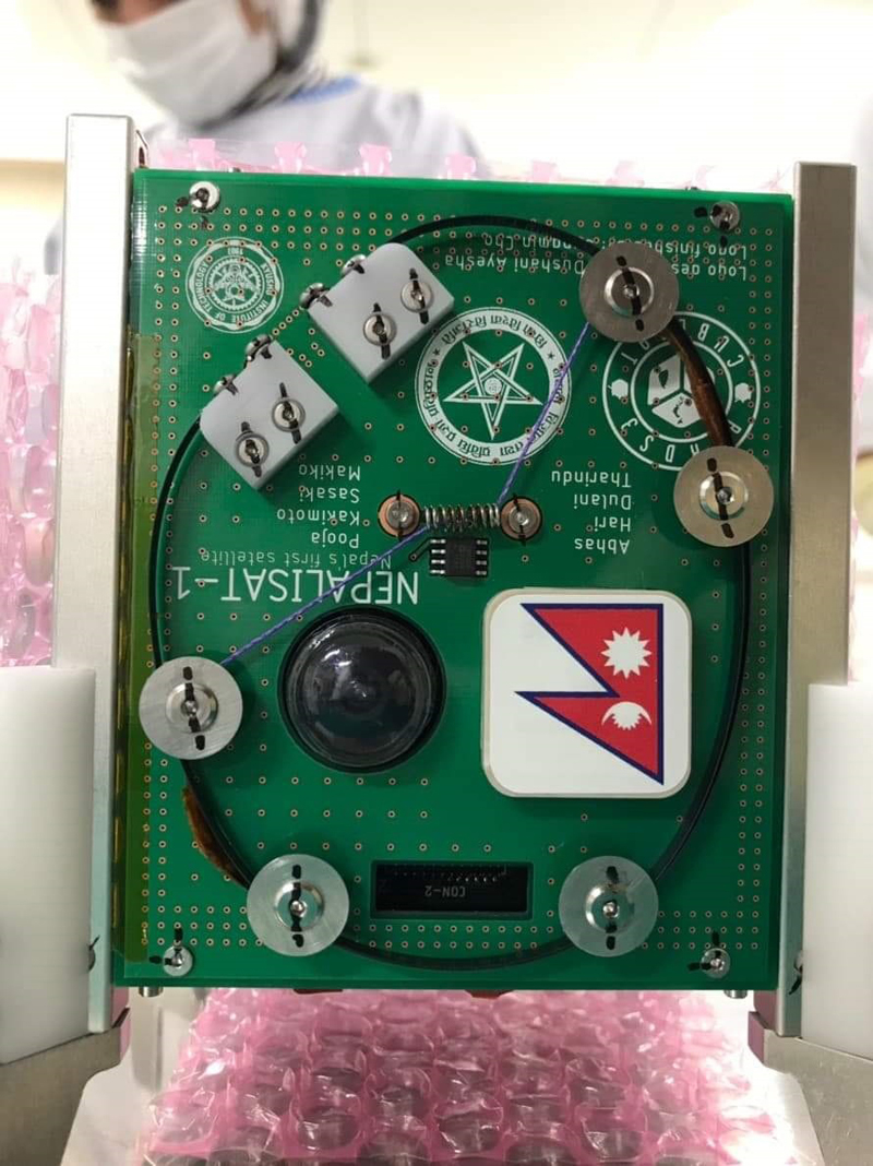 This image shows a Printed Circuit Board (PCB) of the Nepalisat-1 nanosatellite. nPhoto courtesy: NAST