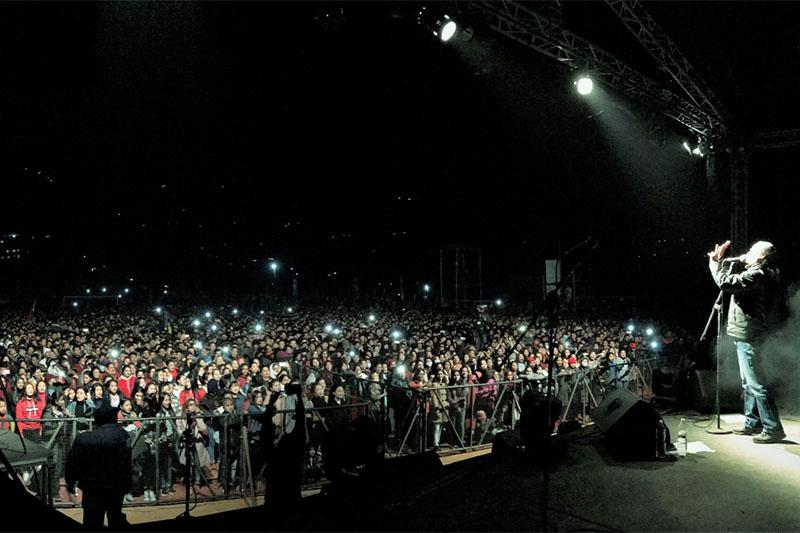 Nepathya performing live concert in Phidim. Photo: Kiran Kumar Shrestha