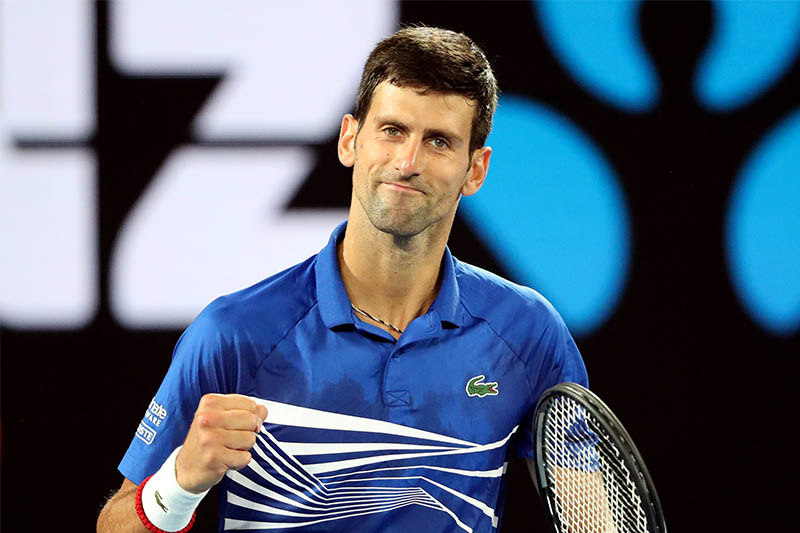 Serbia's Novak Djokovic reacts during the match against France's Lucas Pouille. Photo: Reuters